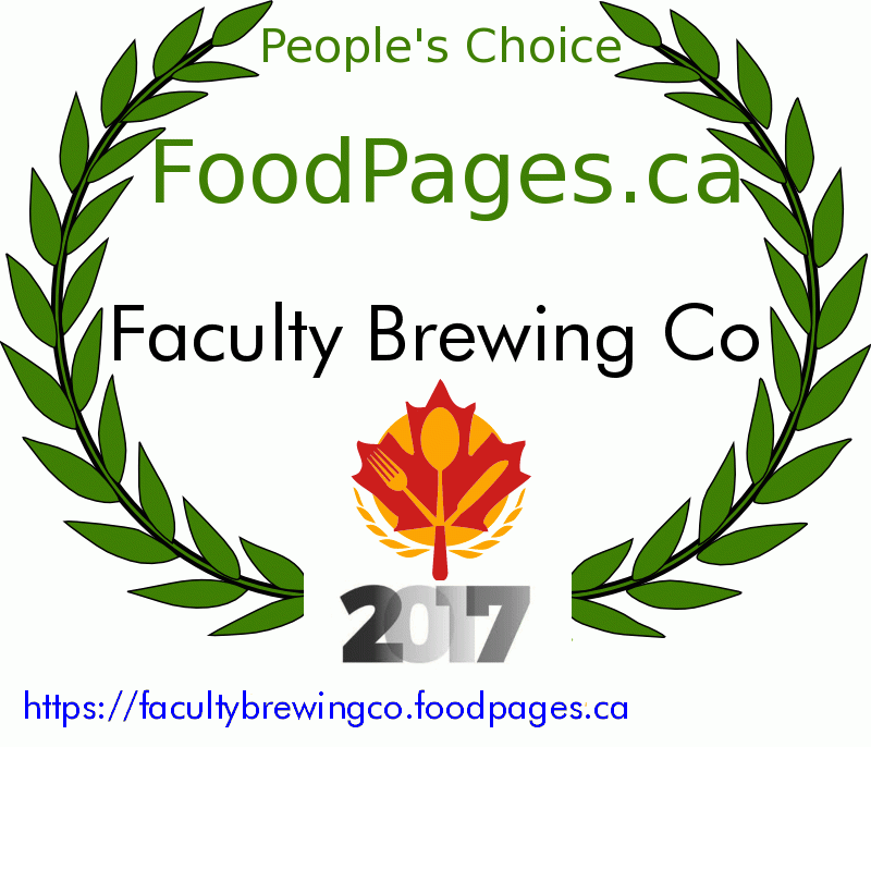 Faculty Brewing Co FoodPages.ca 2017 Award Winner
